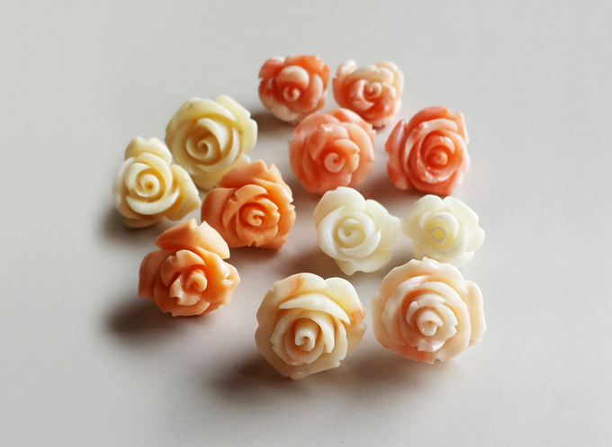 Coral Rose Pierced Earrings