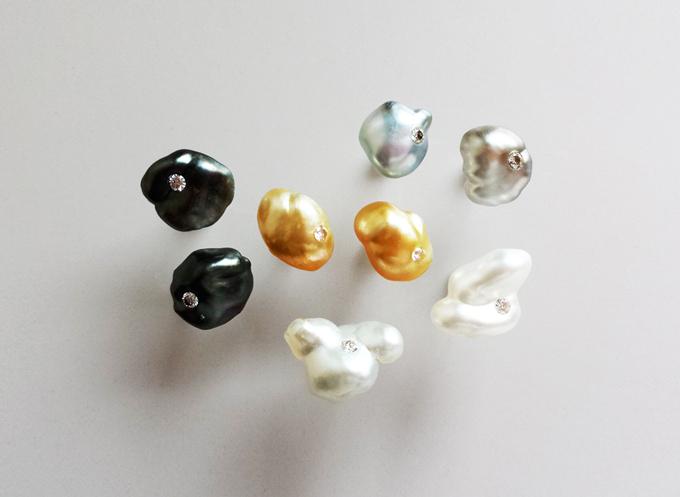 Southsea Keshi Pearl Pierced Earrings with Diamond